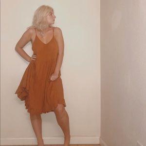 orange ruffle midi dress